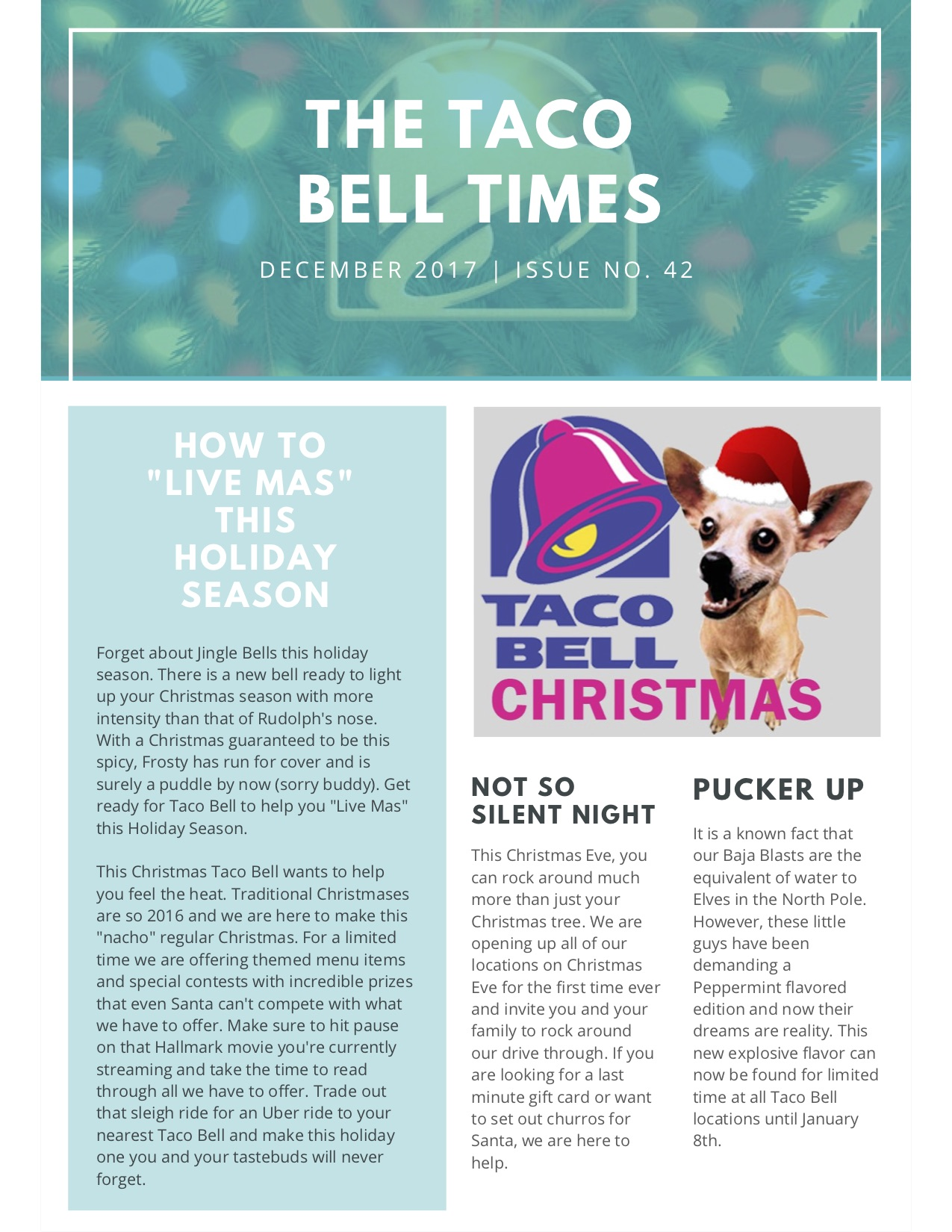Taco Bell Christmas Eve.Newsletter Taco Bell Times Ryan Garn